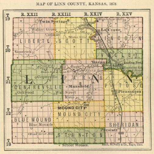 Sumner County Kansas Map.First Biennial Report 1878 Linn County Kansas