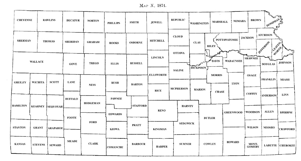 History Of Kansas Counties Development Map X 1874