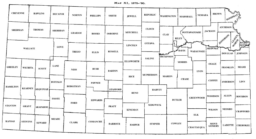 History Of Kansas Counties Development Map Xi 18751880: Kansas State Map With Counties At Usa Maps