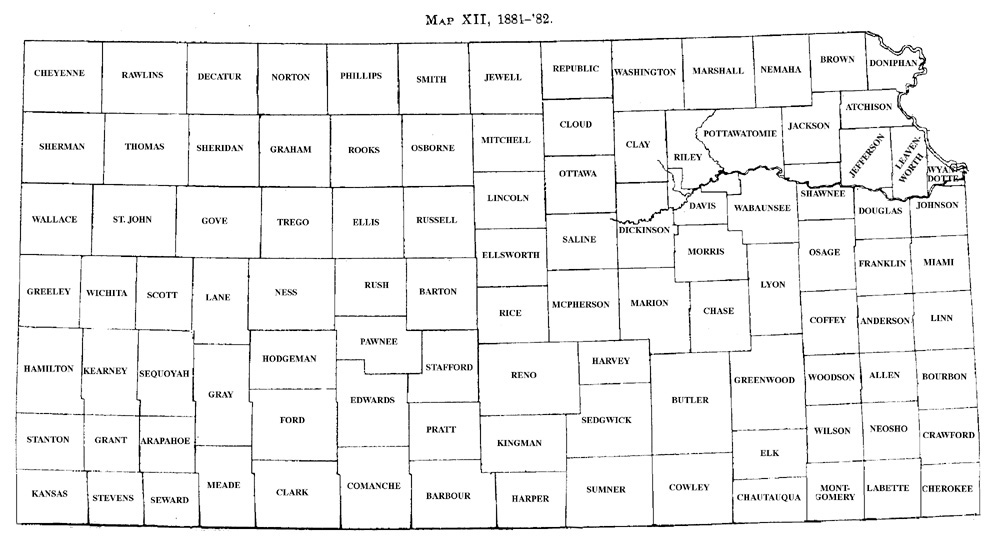 History Of Kansas Counties Development Map Xii 1881 82